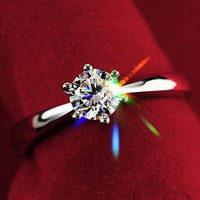 Women Clear Zircon Inlaid Wedding Bridal Engagement Party Jewelry Ring Size 6-9