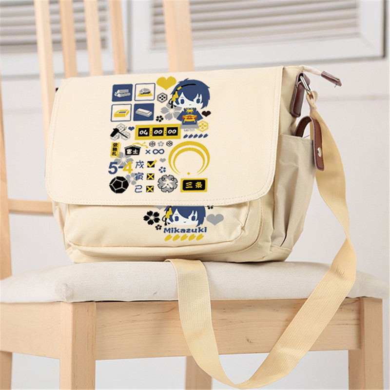 2017 Game Touken Ranbu Online Mikazuki Munechika Fox Ball Cosplay Women Messenger Bags Canvas Anime School Bags Crossbody Bags touken ranbu online good smile face changable 511 mikazuki munechika nendoroid pvc action figure collectible model toy
