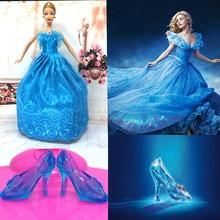 6fcf05ce1bfa3c Nk imitatie sprookje prinses assepoester jurk + crystal schoenen voor  barbie pop beste meisjes gift baby toys