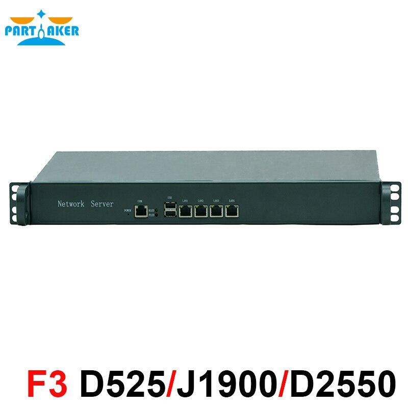1U Rankmount Intel Atom D525 маршрутизатор 4 Lan маршрутизатор брандмауэра сети сервера 2 ГБ оперативной памяти 8 ГБ SSD