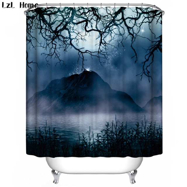 LzL Home Scenic Mountain Water Landscape Shower Curtain Chinese Hot Eco Friendly Mould Proof Waterproof