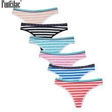 46d091d44 FUNCILAC Listras das Mulheres Gril Impressão Cintura G-string Tangas calcinhas  de Algodão Briefs Underwear