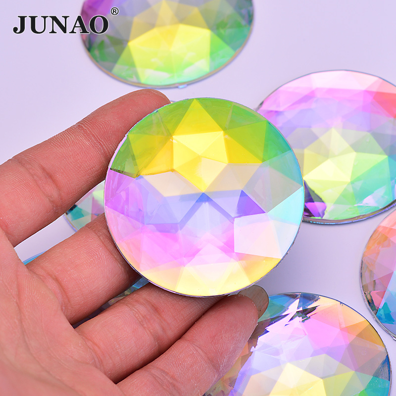 JUNAO 52mm Big Size Flatback Crystal AB Rhinestones Applique NON Sewing Crystals Stones Round Acrylic Strass Scrapbook Crafts
