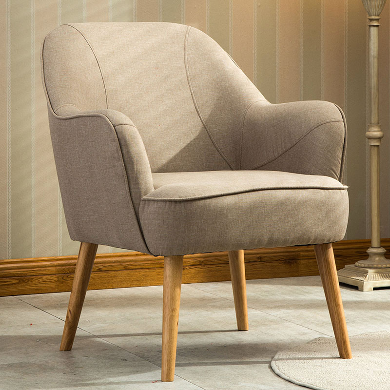 Mid Century Modern Indoor Fabric Arm Chair Wooden Legs Living Room Furniture Armchair Accent Chair Upholstered Occasional Chair