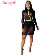 Adogirl Fluorescent Green Trim Sheer Mesh Night Club Dress Women Sexy Long Sleeve Bodycon Mini Party Dresses Fashion Outfits