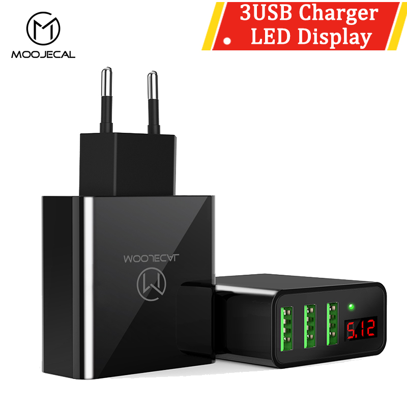MOOJECAL 3 USB LED Display Travel EU Charger 5V/3A Smart Fast Charging Universal Mobile Phone Charger For Iphone Huawei Xiaomi