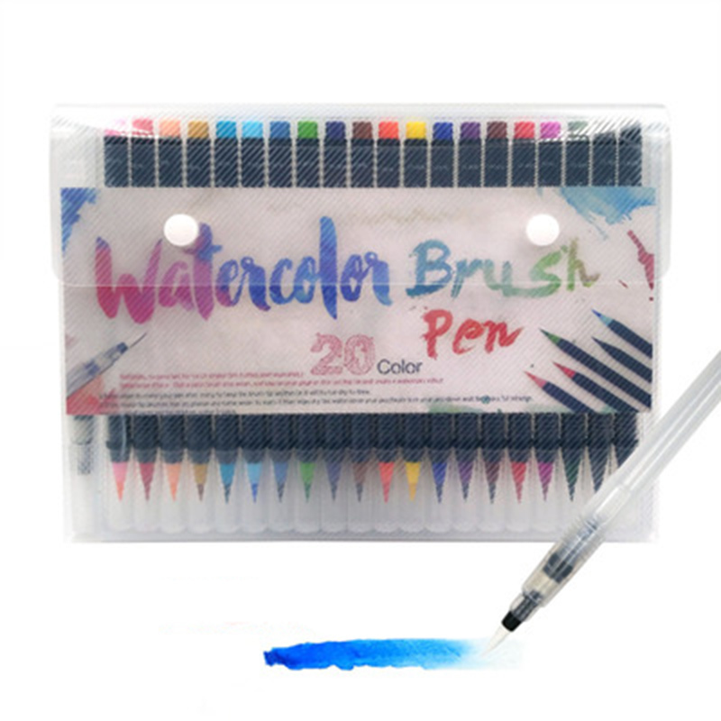 K&KBOOK 20 Colors Watercolor Art Markers Pen Painting Sketch Marker Soft Brush Pen Art Suppliers for Animation Manga Drawing bgln 20 colors painting brush set soft drawing watercolor marker painting brush for school student manga brush pen art supplies