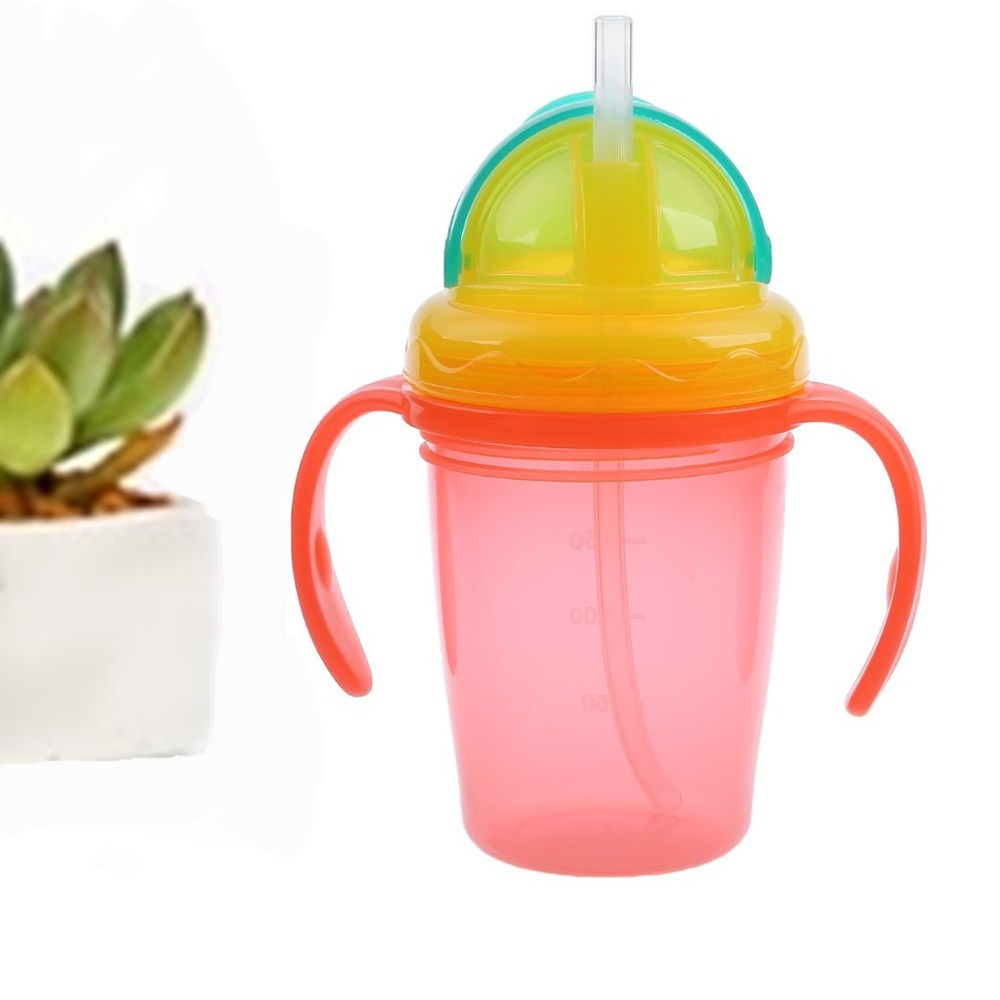 230ml Baby Kids Cup Children Straw Milk Water Bottle Feeding Silicone Handle Drink Bottle Cup For Baby Training Feeding Cup gift