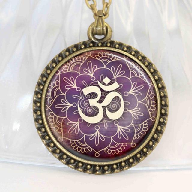 1pcs New Lotus Om Yoga Jewelry India Necklace Om Symbol Buddhism Zen