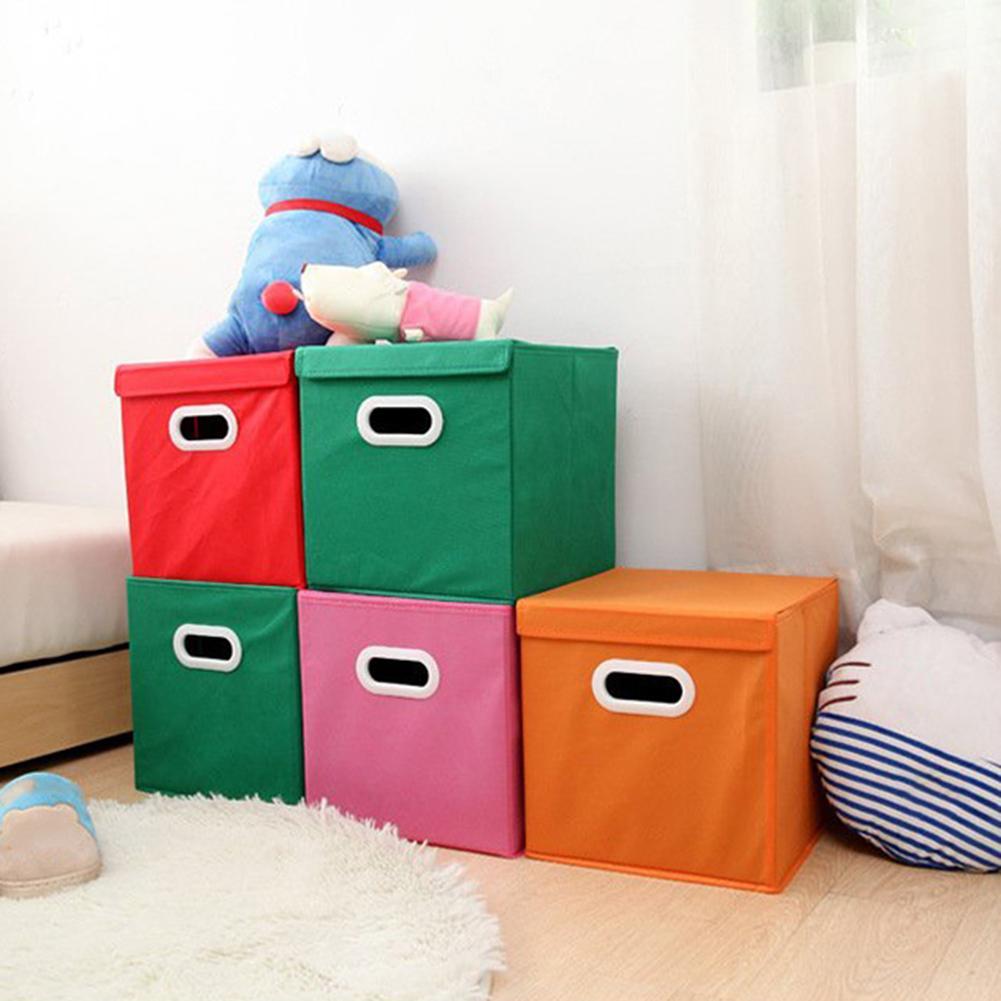 Desktop Storage Basket Cute Printing Waterproof Organizer Cotton Linen Sundries Storage Box Cabinet Underwear Storage With Cover