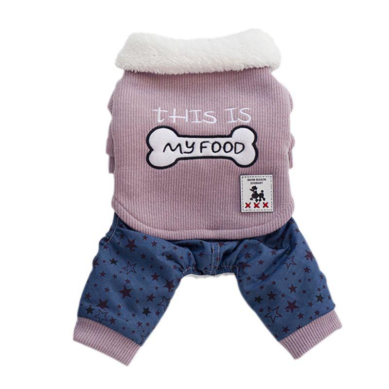 Winter Haustier Hund Overall Overalls Kleidung Knochen muster Warm Puppy Hund Katzen Vier Bein Mantel Jacke Kostüme Für Yorkies