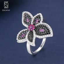 SISCATHY Luxury Finger Rings Flower Shape Sterling Silver Statement For Women Girls Party Engagement bijoux femme ensemble