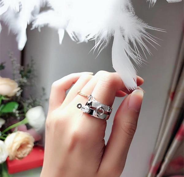 ZOZIRI 925 bagues en argent sterling pour femmes pignose trois couches croix bague de mariage célèbre marque bijoux