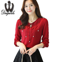 Dingaozlz 2017 Autumn Chiffon OL Shirt Women Clothing Long Sleeve Lace Tops Embroidery Bow Beading Stitching