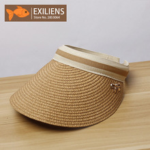 [EXILIENS] 2017 New Lady Fashion Summer Brand Women's Sun Hats Woman Caps Solid Straw Empty top Bow-knot Shade Sunscreen Girl