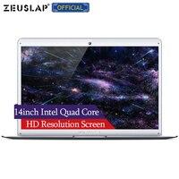 ZEUSLAP 14 дюймов ультратонкий Intel Atom Cherry Trail 4 ядра процессор Wi Fi Bluetooth узкая рамка Новое обновление ноутбука нетбуки компьютер