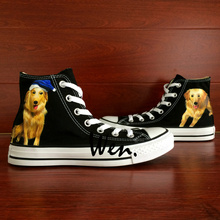 Wen Original Design Custom Hand Painted Shoes Pet Dog Golden Retriever Black High Top Men Women's Canvas Sneakers