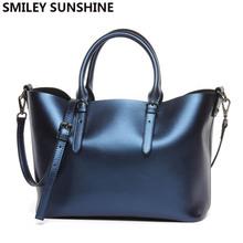 SMILEY SUNSHINE genuine leather ladies shoulder bags female luxury brand designer women leather handbag tote bags for women 2018