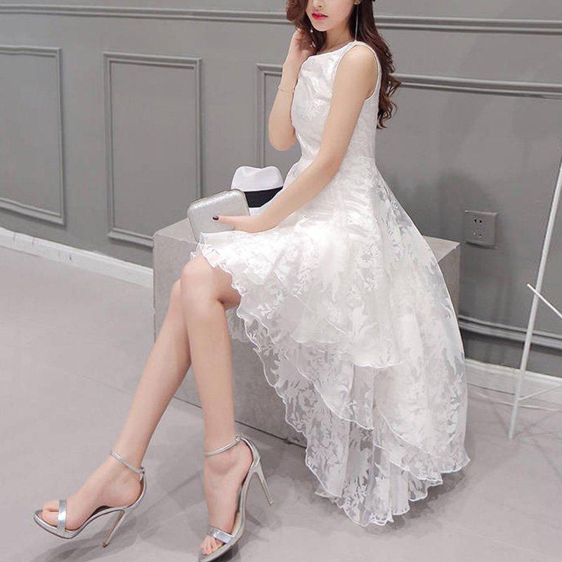Women's Summer Formal Prom Party Dress Girls Ball Gown Bridesmaid Irregular Dress S4