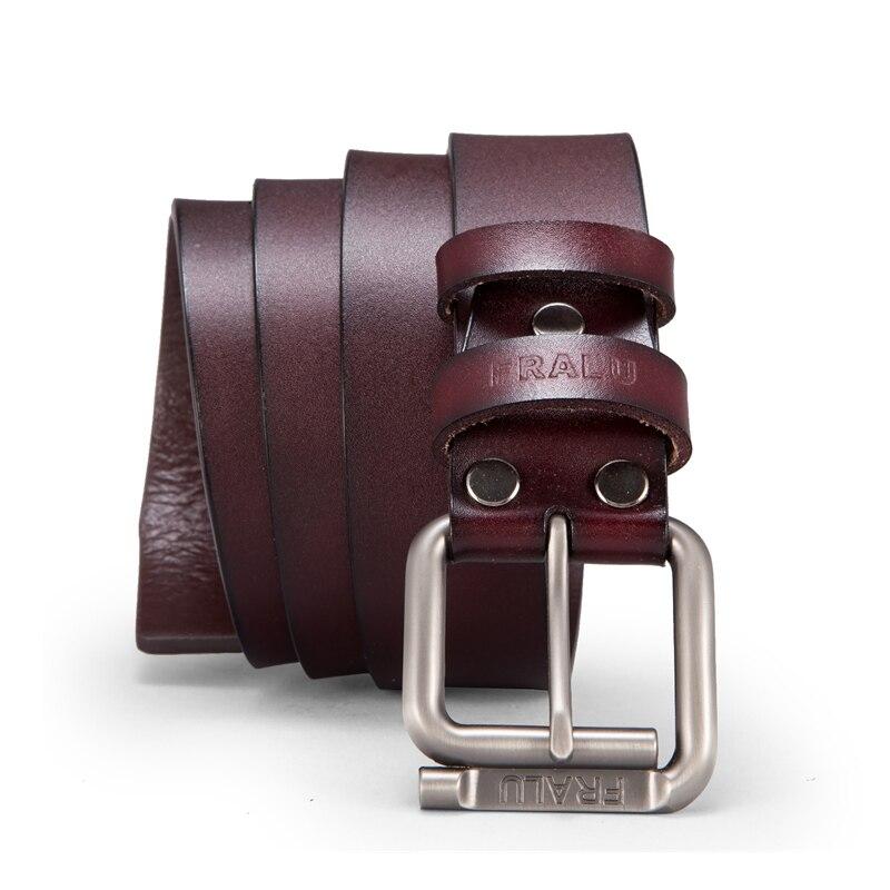 FRALU 2018 NEW men   belt   cowhide genuine leather   belts   for men brand Strap male pin buckle vintage jeans   belt   100-130 cm