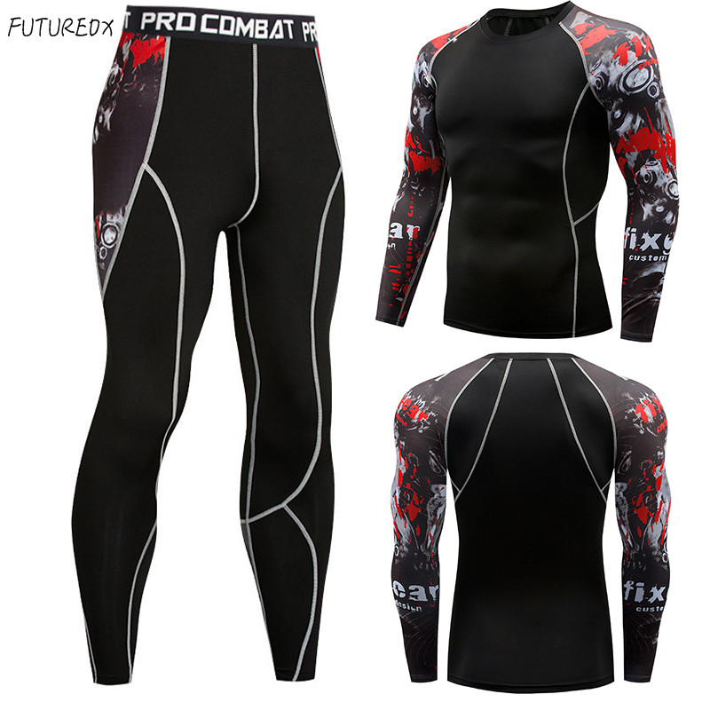 Fitness MMA Rashgard Long-sleeved Workout Clothes Tights Men's Compression Stretch Quick-drying Breathable T-shirt Tactical Suit
