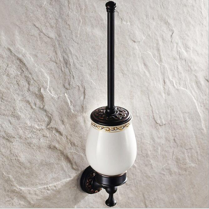 Wall Mounted Bathroom Accessories Brass Carved Toilet Brush Holder,Antique Black Oil Brushed Bathroom Toilet Brush Free Shipping solid brass antique brass bathroom toilet paper holder with brush bathroom accessories wall mounted