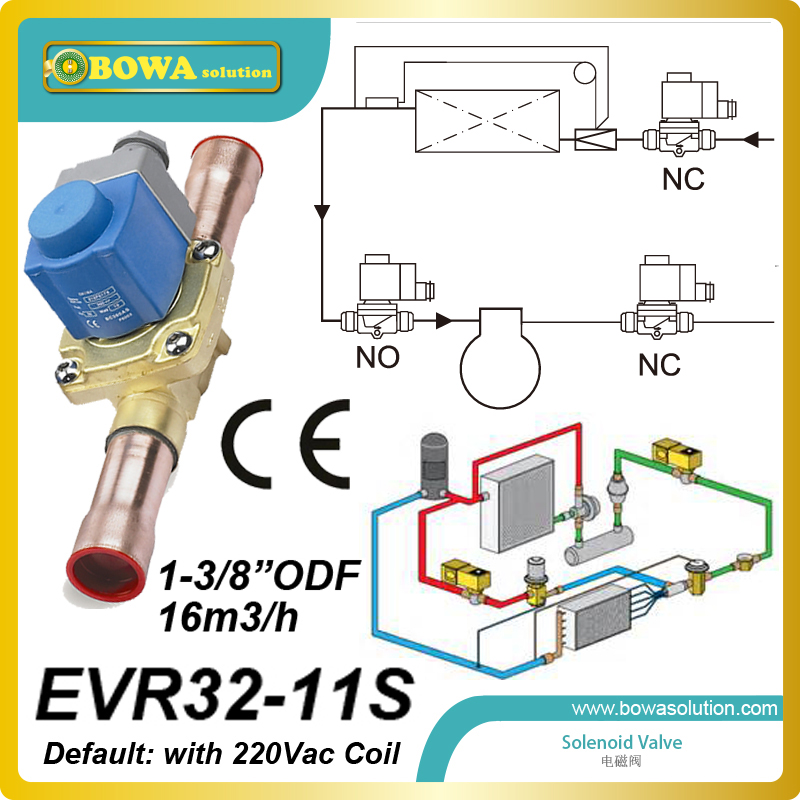 1-3/8solder(16m3/h) HVAC/R Solenoid Valve with coil installed in air source multi-function(AC, heating and water heater) Unit r410a hvac r solenoid valve with 4 5mpa working pressure is also suitable for r32 air condtioner or water chillers