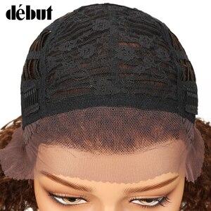 Image 3 - デビューレースフロント人毛かつら変態カーリーウィッグ人毛ショート黒人女性ウェットと波状カーリーウィッグ送料無料