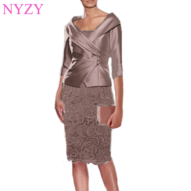 NYZY M1J Real Wedding Guest Dress Lace Mother Outfits With Jacket 2 Piece Brown Mother of the Bride Groom Dresses 2019