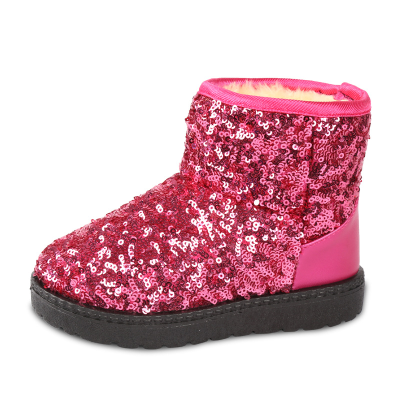 Kids Boots Snow Boots Girls Children Winter Warm Shoes Fashion Sequins Medium-sized Child Boot Cotton Girl Australia boot