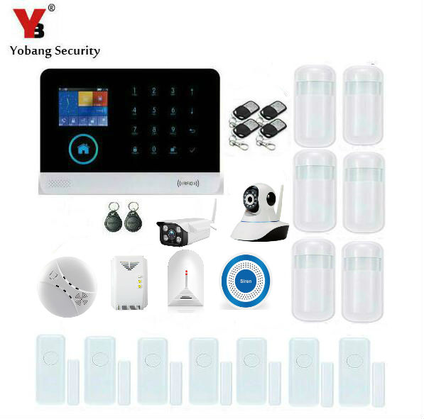 YobangSecurity Wireless Wifi GSM Home Security Alarm System Kit With Outdoor Indoor IP Camera Wireless Siren Smoke Fire Detector yobangsecurity gsm wifi gprs wireless home business security alarm system with wireless ip camera smoke fire dual motion sensor