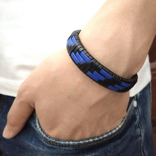 Latest Popular Adjustable Leather Bracelet For Men Charm Vintage Blue Weaving Bracelet  Leather Wrap Bracelet Couples Bracelets