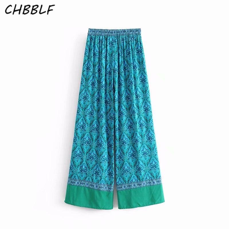 CHBBLF women vintage print   wide     leg     pants   European style female casual full length trousers DFJ8132