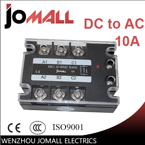 10A DC control AC SSR three phase Solid state relay free shipping mager 10pcs lot ssr mgr 1 d4825 25a dc ac us single phase solid state relay 220v ssr dc control ac dc ac