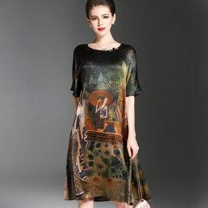 Image 2 - فستان صيفي بتصميم رسمة عرقية عتيقة للنساء فساتين ناعمة من الحرير نصف كم أنيقة للنساء ماركة Vestidos برقبة دائرية مقاس كبير