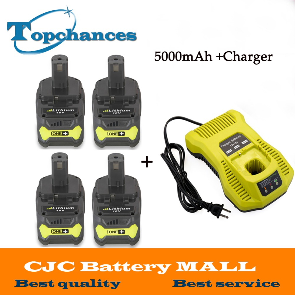 Newest 12-18V Charger+4PCS 18V 5000mAh Li-Ion For Ryobi Hot P108 RB18L40 Rechargeable Battery Pack Power Tool Battery Ryobi ONE+ набор bosch ножовка gsa 18v 32 0 601 6a8 102 адаптер gaa 18v 24