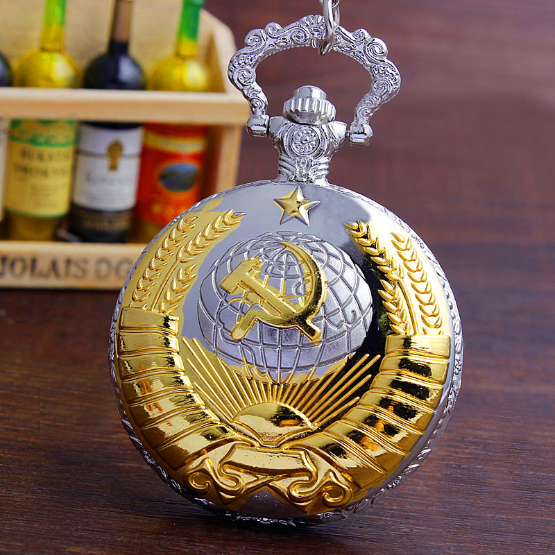 b83f75767c20 Retro Luxury Golden Silver Pocket Watches With Fob Chain Soviet ...