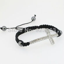 Sale 10pcs Fashion Clear Crystal White Gold Color Curved Sideways Cross Connector Bead Adjustable Black Macrame Rope Bracelet