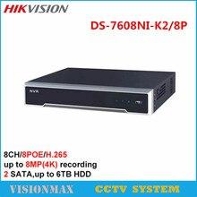 Hikvision 8CH 8POE CCTV NVR DS-7608NI-K2/8P VGA HMDI support 8MP IP camera Onvif H.265 2SATA interface Surveillance Security NVR