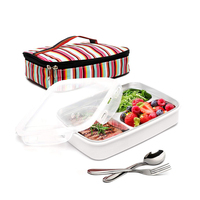 Lunch box Stainless steel Portable Insulated Leakproof Meal Prep Container Microwave Safe with Bag & Fork Spoon Kit Picnic Boxes