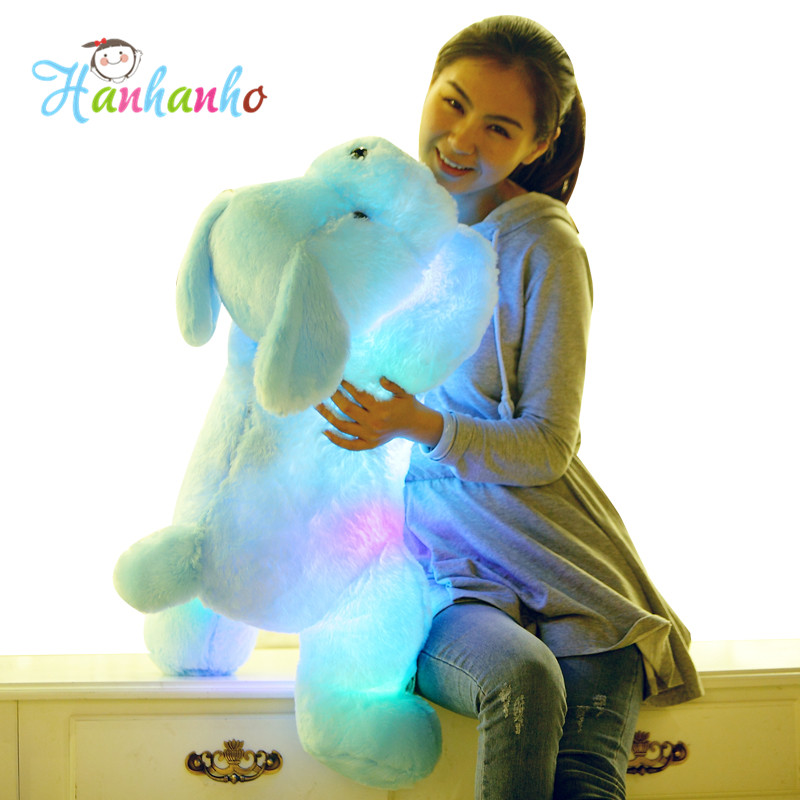 80cm Giant Size Flashing Puppy Plush Toy Creative Night Light LED Lovely Dog Stuffed Animal Best Gifts for Kids stuffed dog plush toys black dog sorrow looking pug puppy bulldog baby toy animal peluche for girls friends children 18 22cm