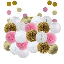 Детские блестящие золотистые и розовые 22 шт./компл. подвесные бумажные поделки разных размеров для выпускного вечера бумажные фонари