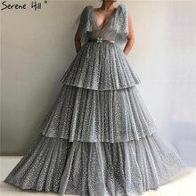 Dubai Grey Glitter V-Neck Evening Dresses 2019 Serene Hill