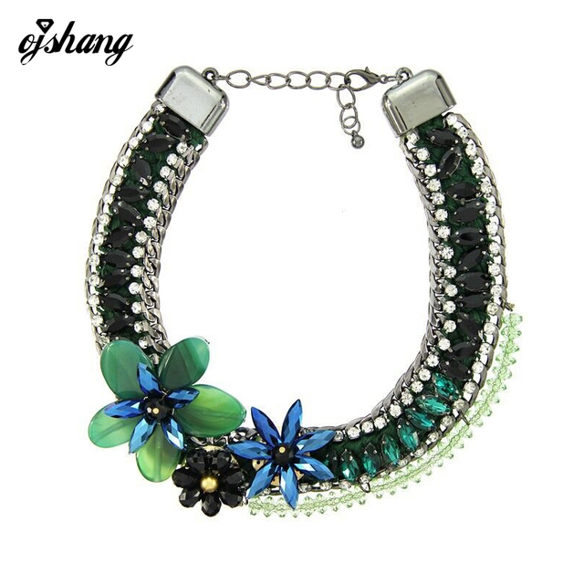 Fashion Necklace Pendant Women 2016 Flower Crystal Choker Jewelry Collares Collier Femme Gem Stone Chunky Boho Maxi Statement