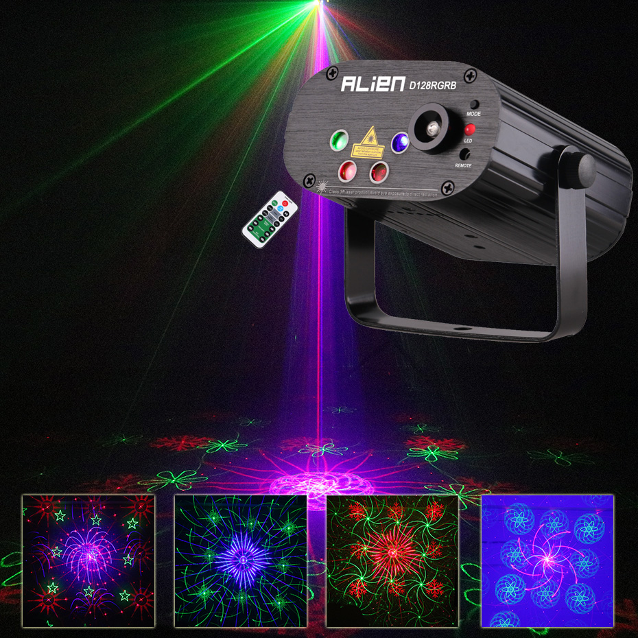 2018 New Arrived RGB Disco Party Light Multi Pattern Luces Discoteca Stage Spotlight Sound Active Laser