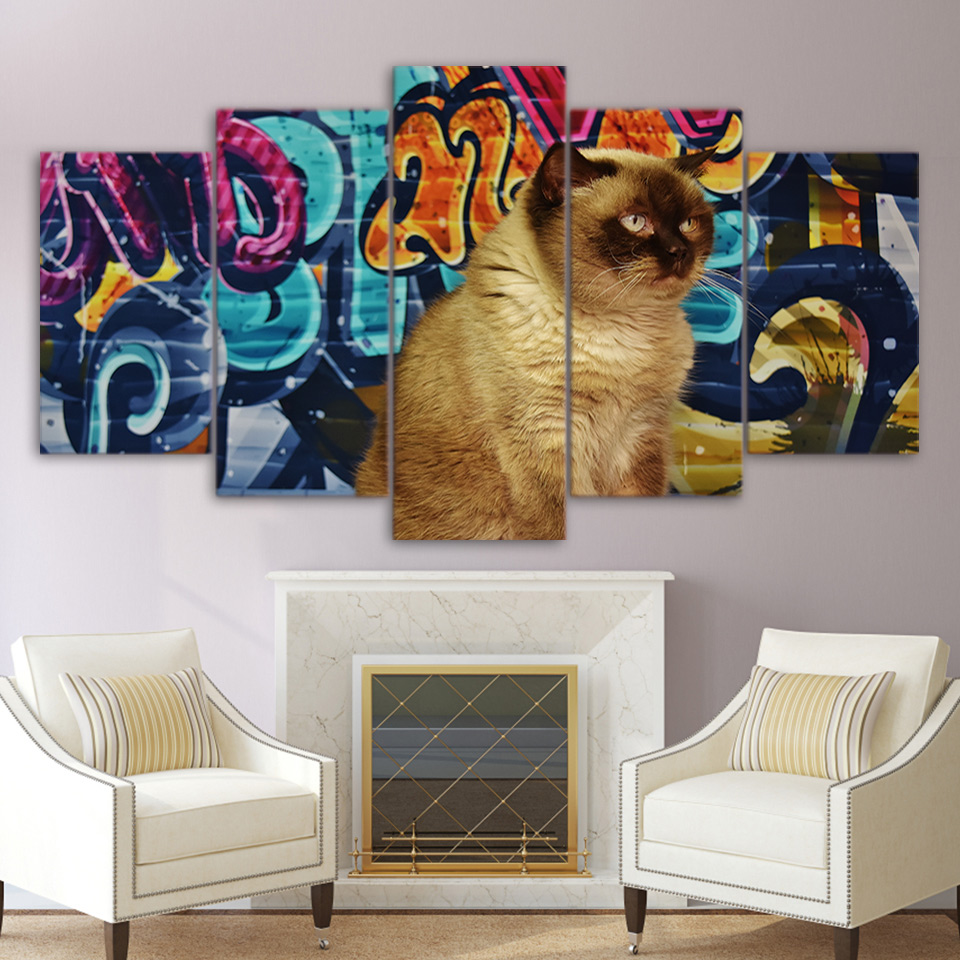 Graffiti art home decor - Wall Art Canvas Abstract Poster 5 Pieces Graffiti Short Hair Brown Cat Home Decor Frame Painting