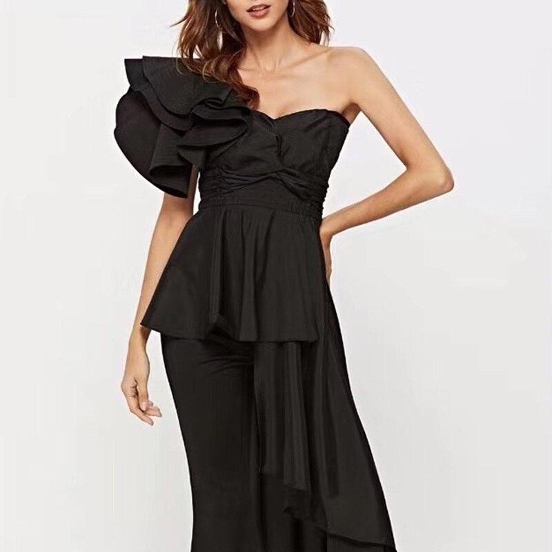 MIAOQING asymétrique chemise hauts femme épaule dénudée à lacets irrégulière à volants Sexy Blouse femmes mode 2018 automne nouveau - 3