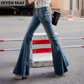 Super new skinny high waisted jeans vintage flare jeans femme women stretch wide leg denim pants slim jean taille haute