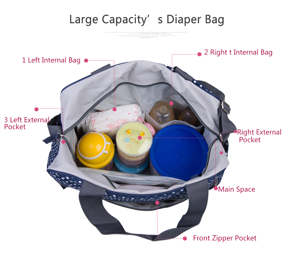Insular 600D Nylon Diaper Bag Baby Nappy Bags Mother Shoulder Bag Fashion Maternity Mummy Handbag Baby Stroller Bag