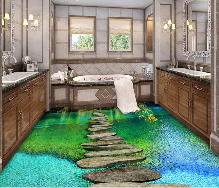 Custom Vinyl Floor Tiles Waterproof Calm Water 3d Wallpaper Floor